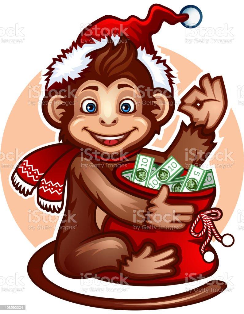 Monkey with a money bag vector art illustration