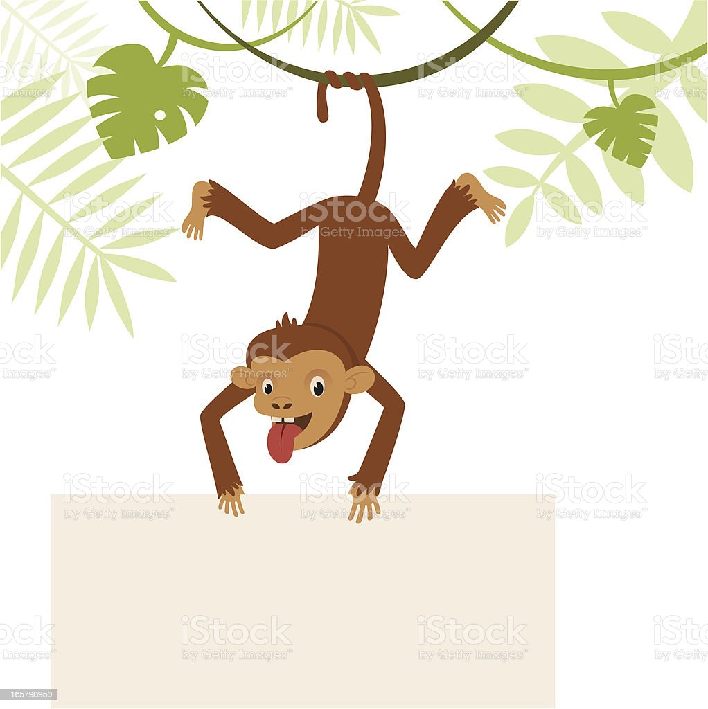 Monkey with banner vector art illustration