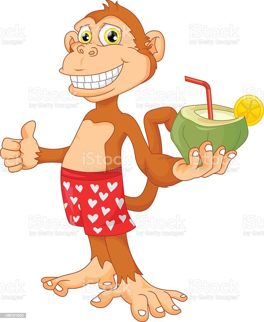 monkey with coconut cartoon vector art illustration
