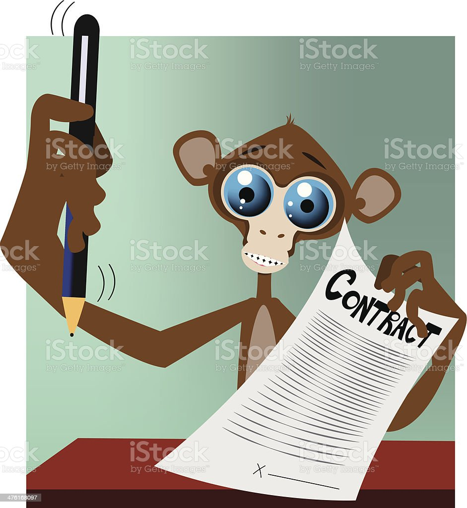 Monkey with contract and pen royalty-free stock vector art