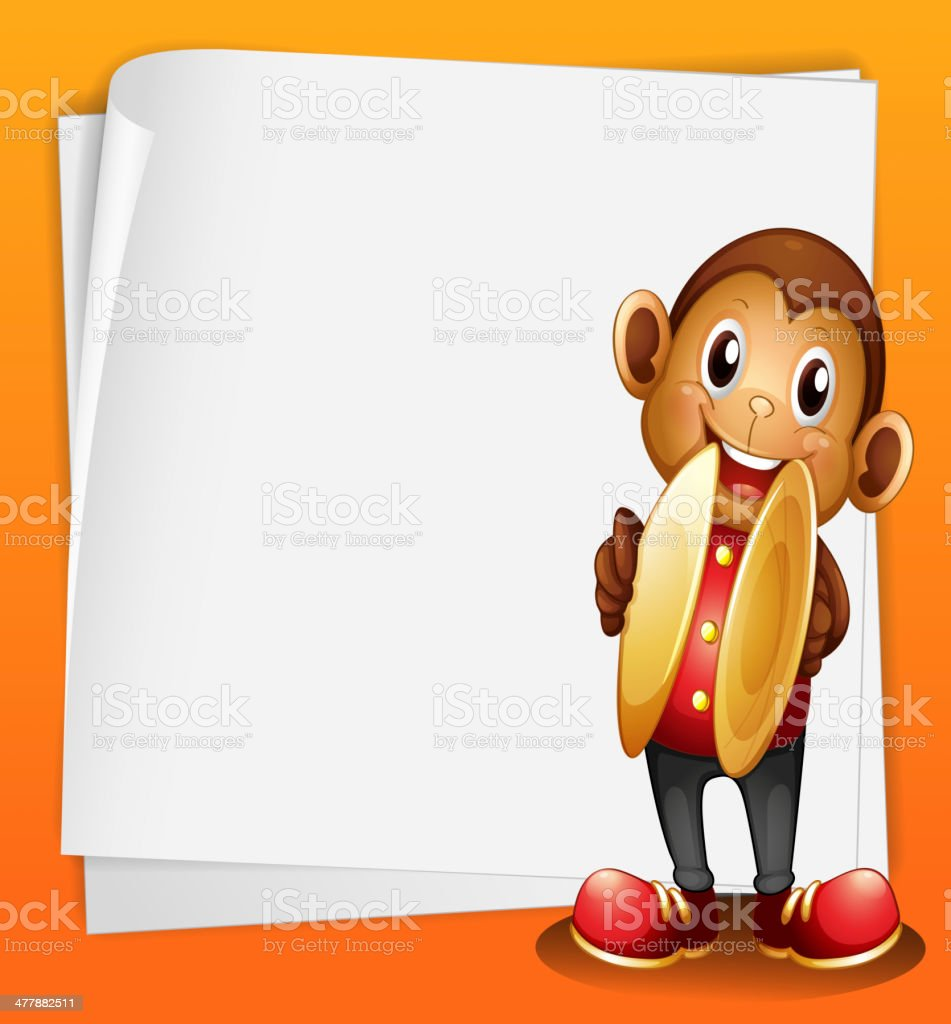 monkey with cymbals and the blank space vector art illustration