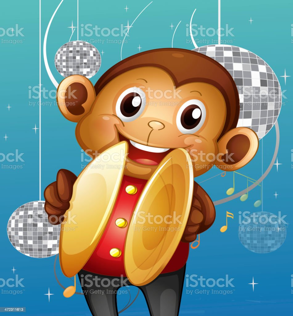 Monkey with cymbals in a disco house royalty-free stock vector art