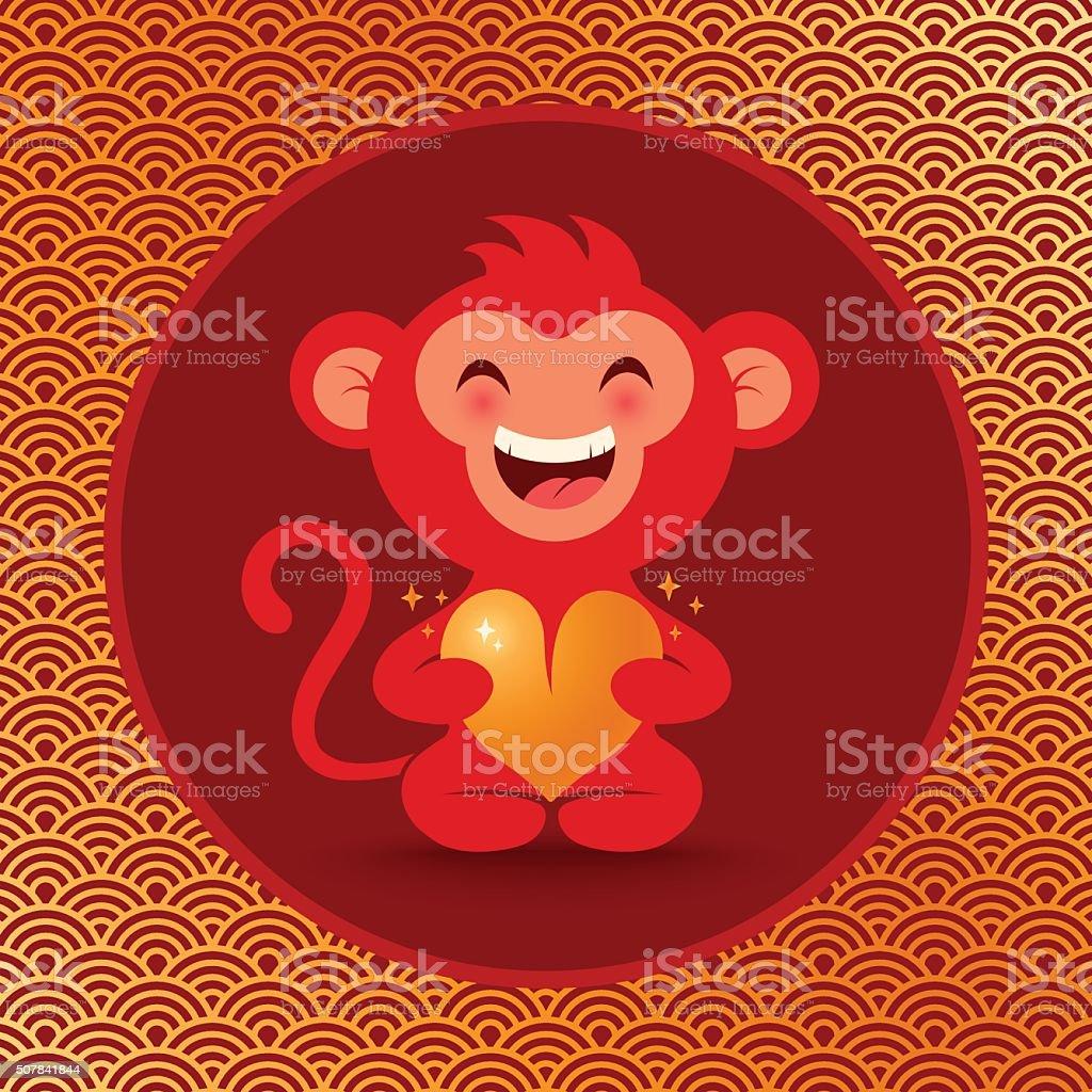 Monkey with heart vector art illustration