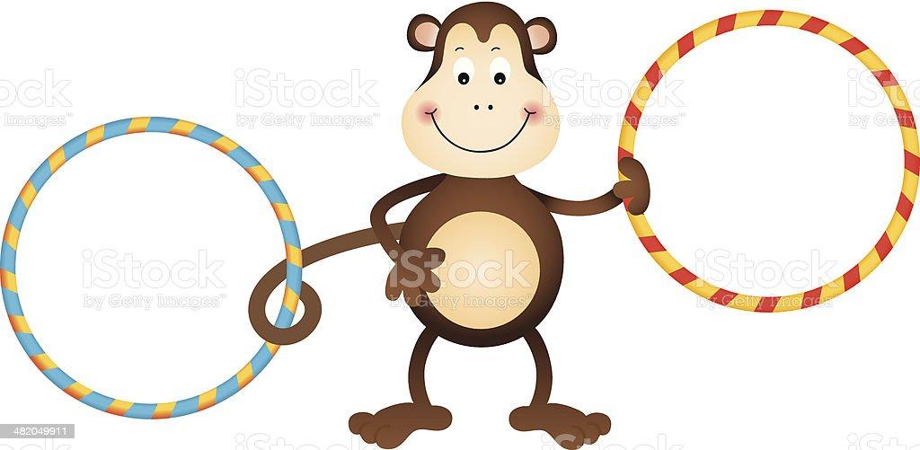 Monkey with Hula Hoops vector art illustration