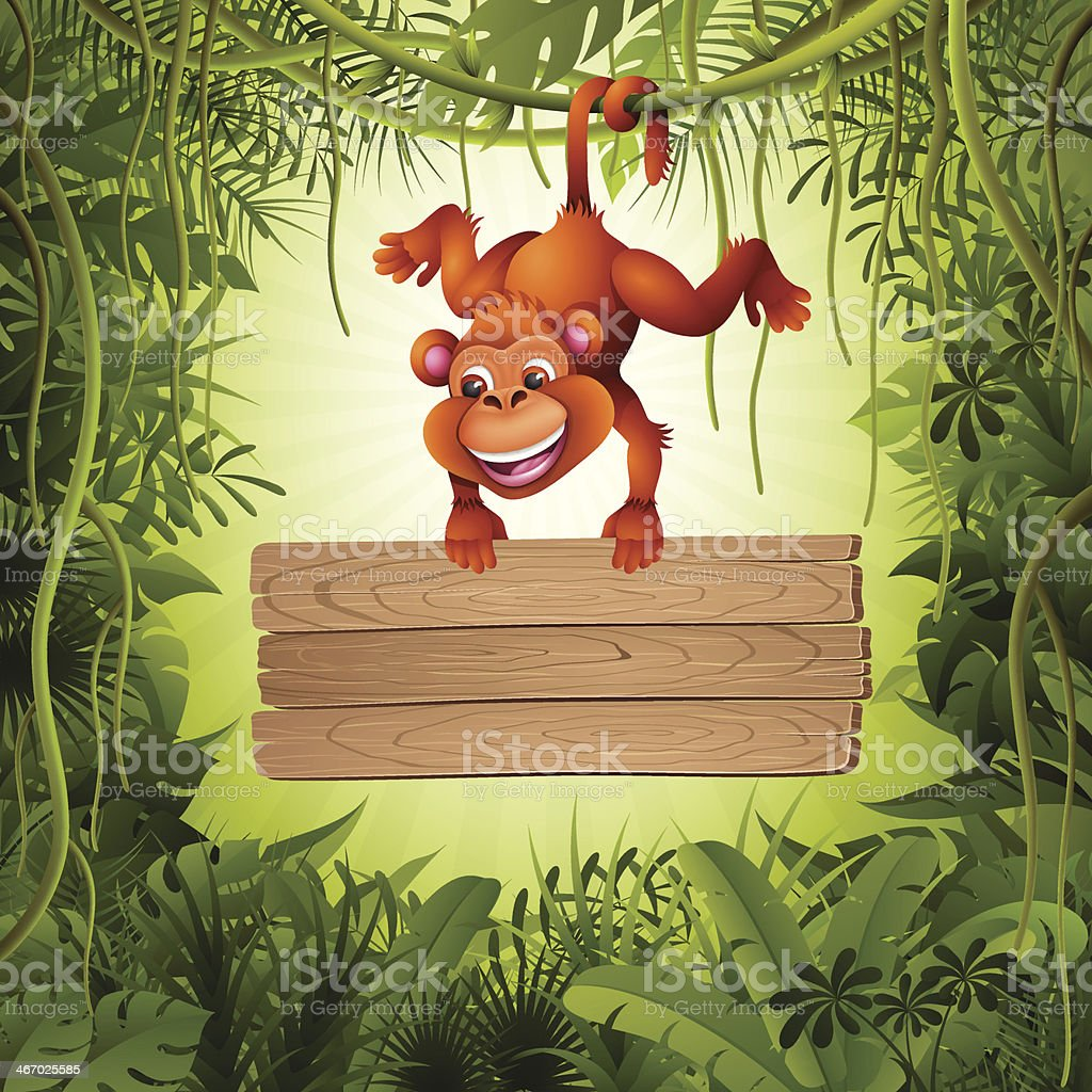 Monkey with sign in the jungle royalty-free stock vector art