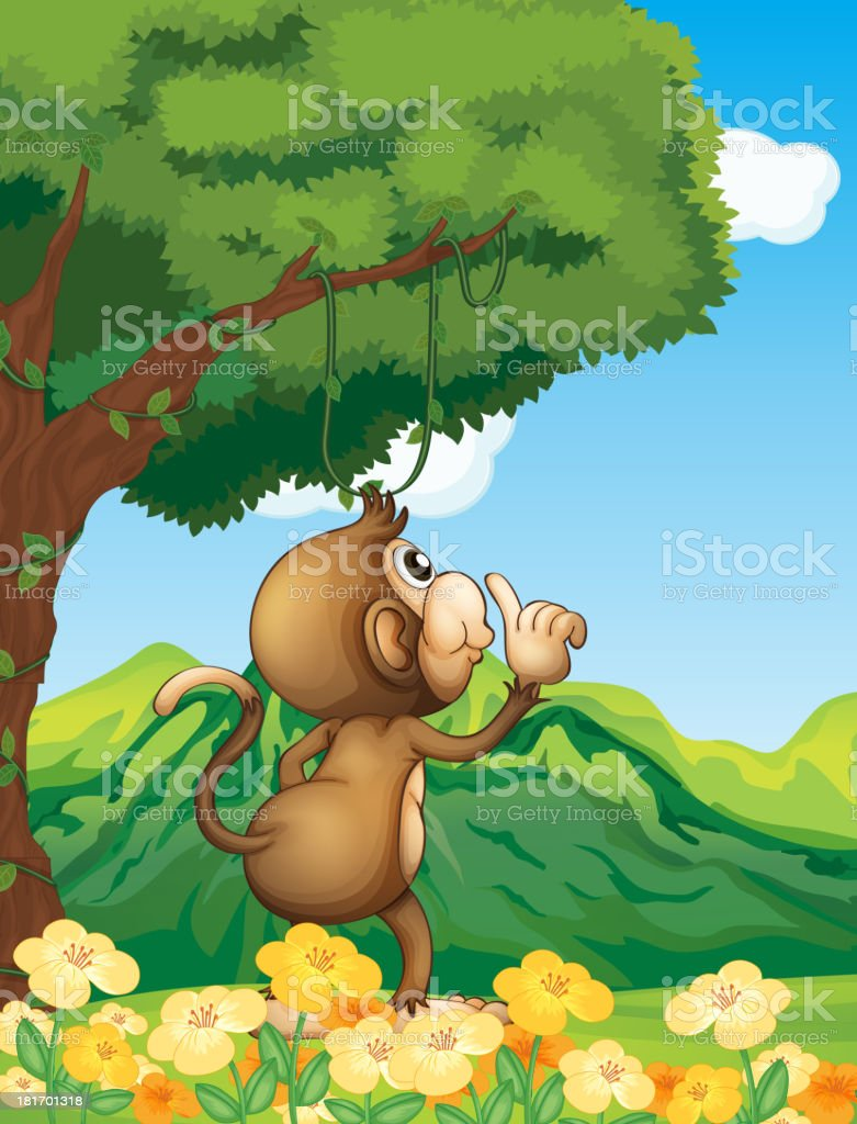 Monkey wondering in the forest royalty-free stock vector art