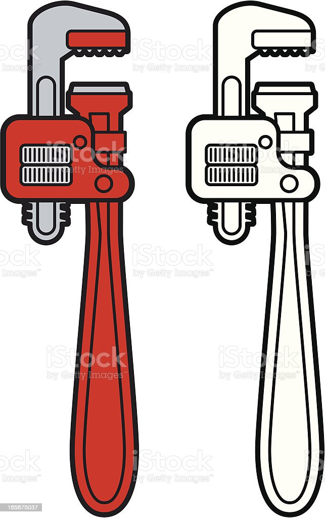 Monkey Wrench or Spanner royalty-free stock vector art