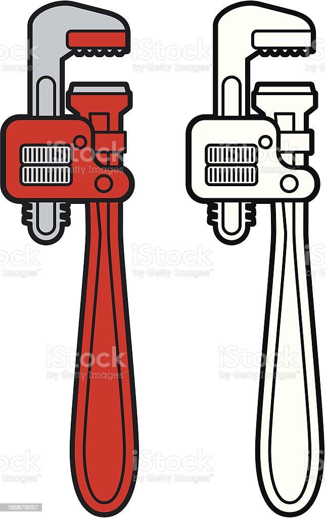 Monkey Wrench or Spanner vector art illustration