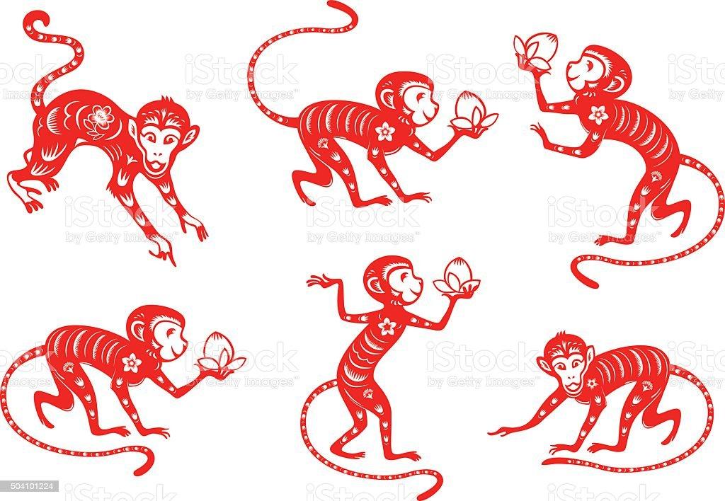 Monkey year 2016 vector art illustration