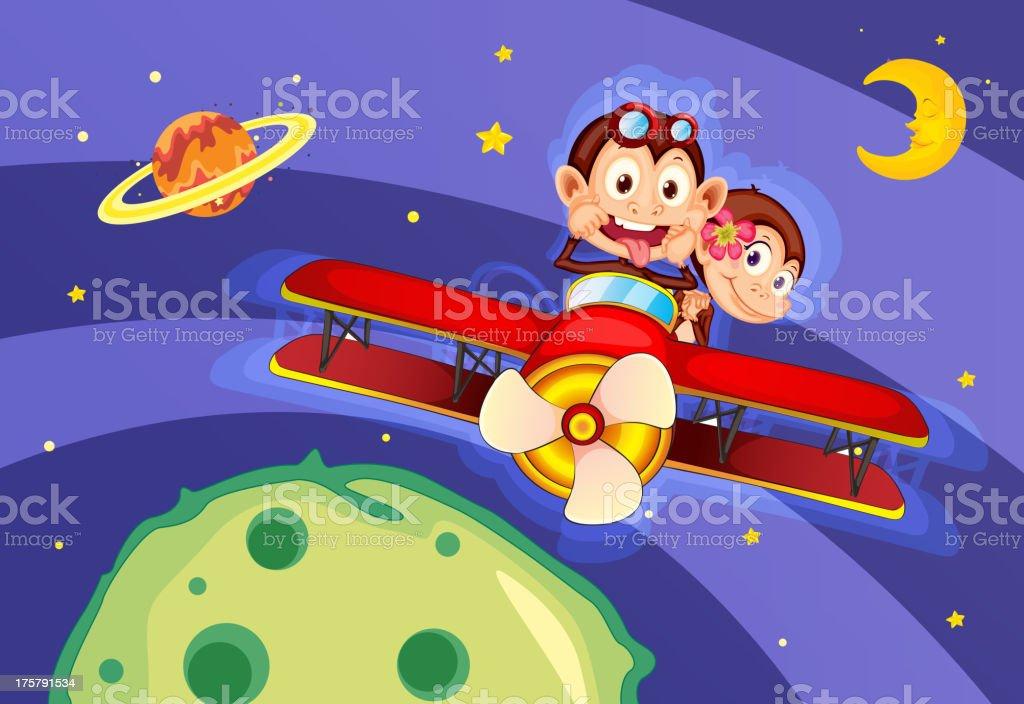 monkeys in aircraft royalty-free stock vector art