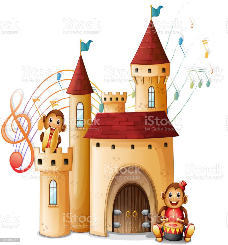 Monkeys in the castle royalty-free stock vector art