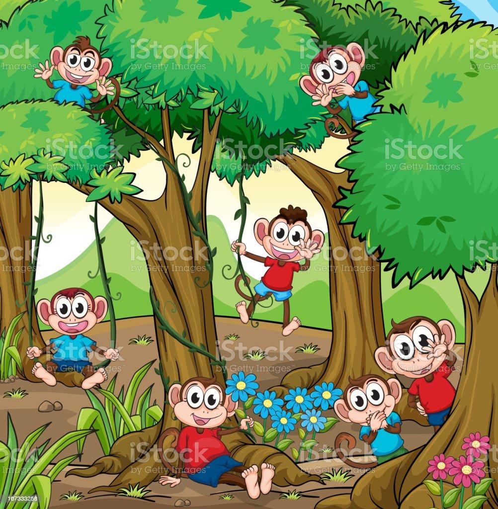 Monkeys in the jungle royalty-free stock vector art
