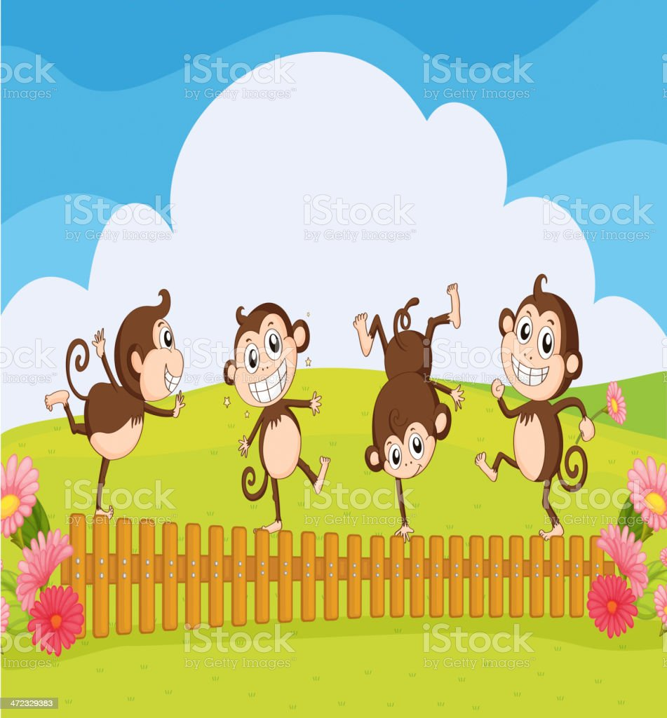 Monkeys playing in the garden royalty-free stock vector art