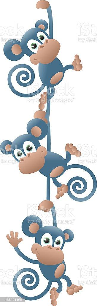 Monkeys swinging in a chain royalty-free stock vector art