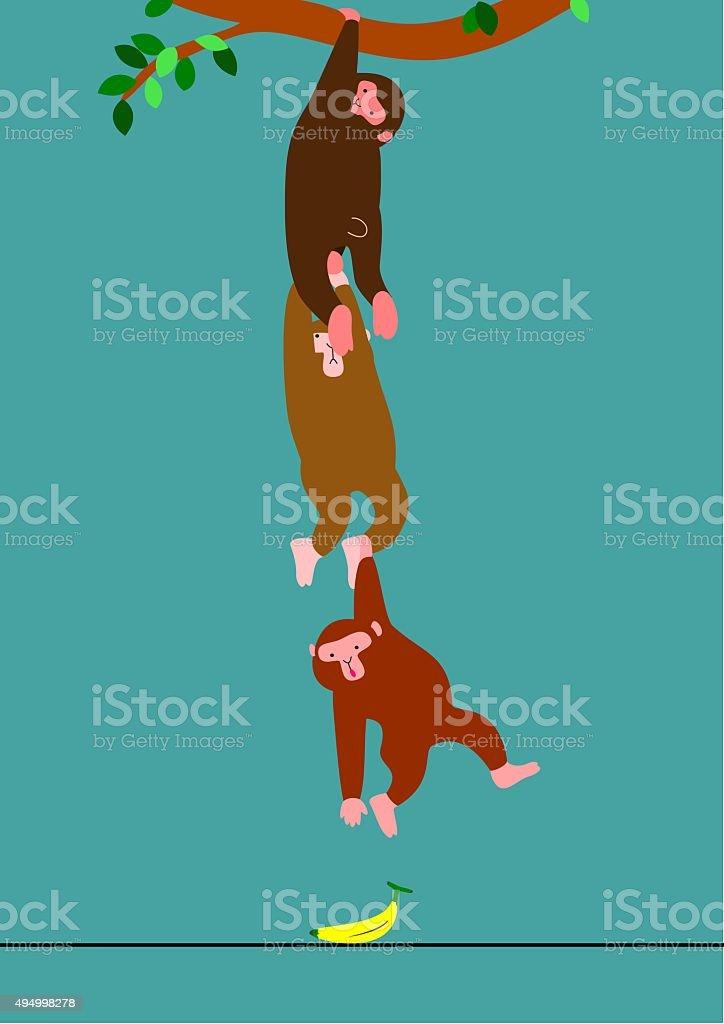 Monkeys trying to take a banana vector art illustration