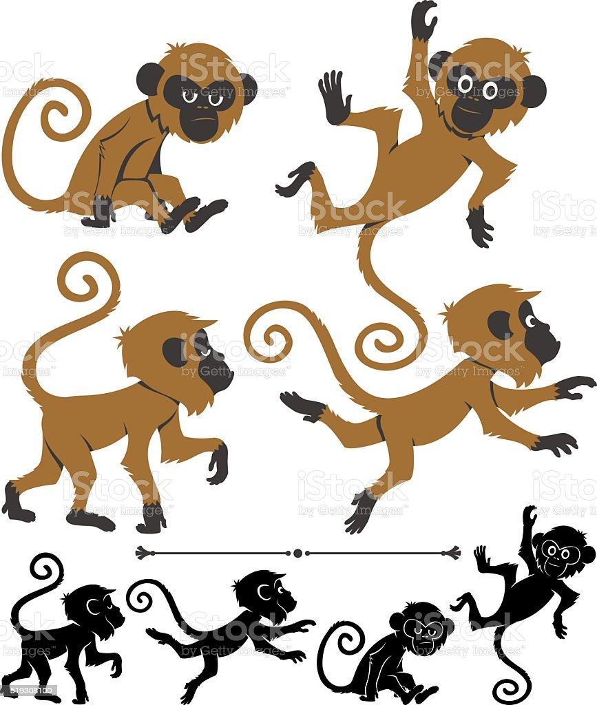 Monkeys vector art illustration