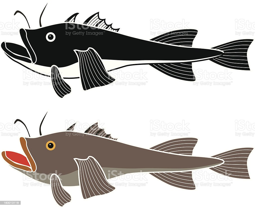 monkfish vector art illustration
