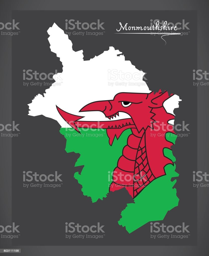 Monmouthshire Wales map with Welsh national flag illustration vector art illustration