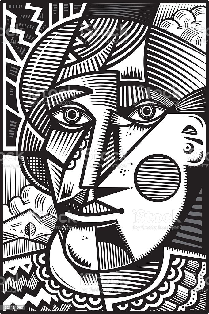 Mono cubist head illustration vector art illustration