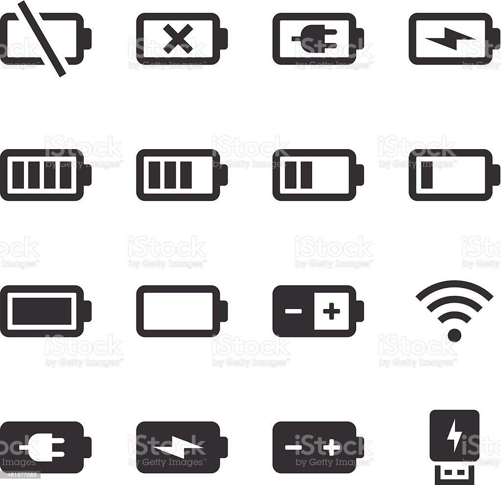 Mono Icons Set | Battery & Power vector art illustration