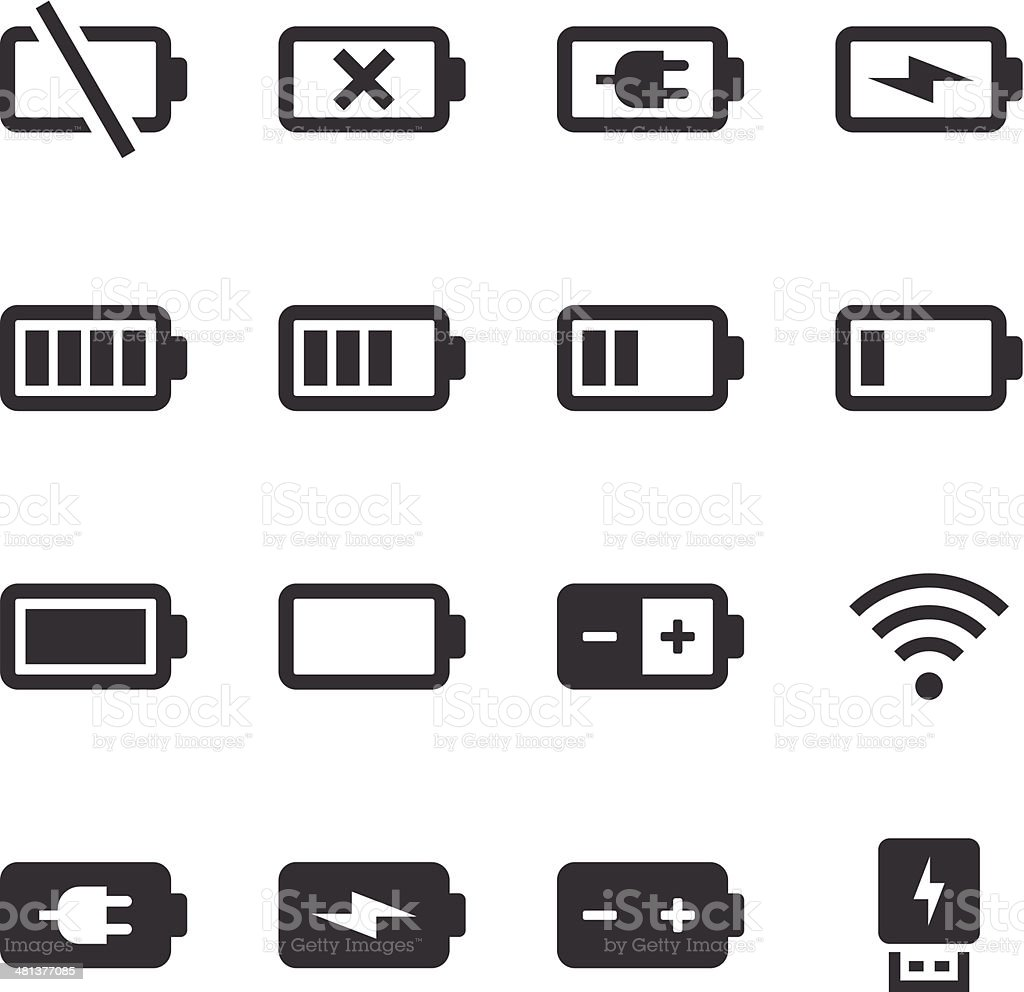 Mono Icons Set | Battery & Power vector art illustration