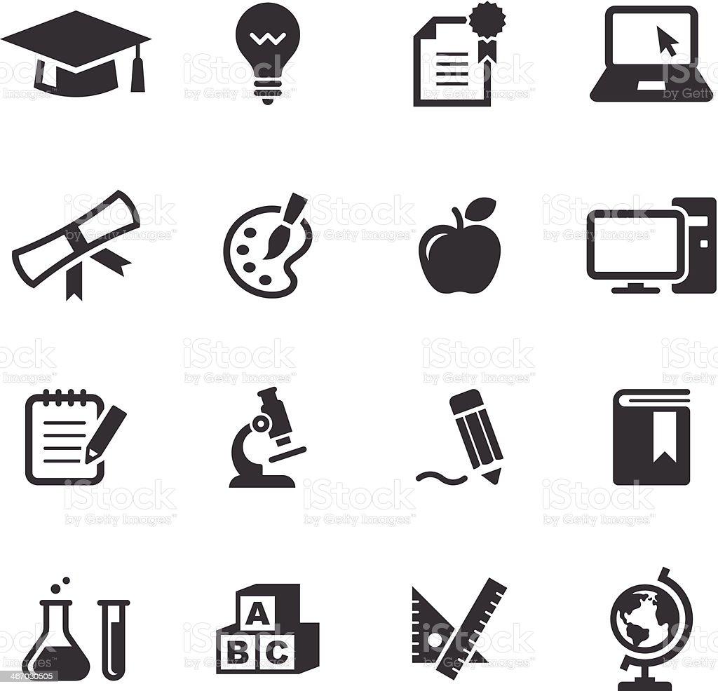 Mono Icons Set | Education vector art illustration