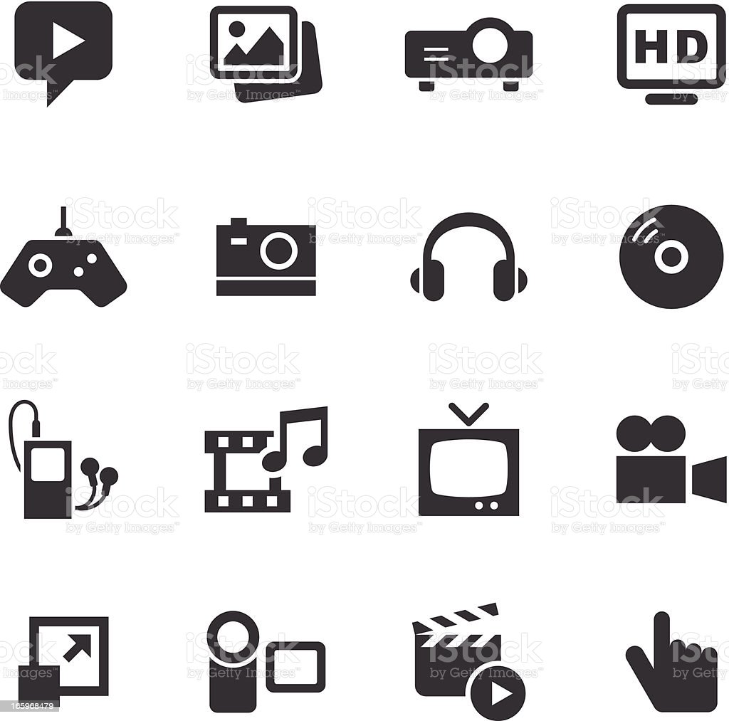 Mono Icons Set | Media royalty-free stock vector art