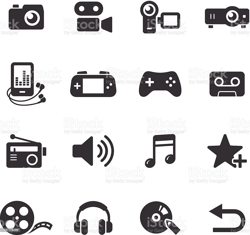 Mono Icons Set | Media royalty-free stock vector art