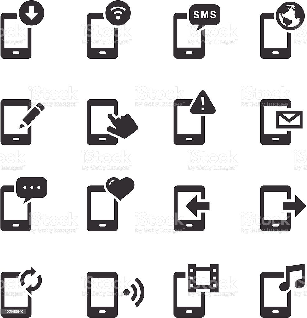 Mono Icons Set | Mobile Phone vector art illustration