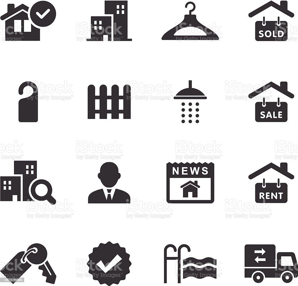 Mono Icons Set   Real Estate vector art illustration
