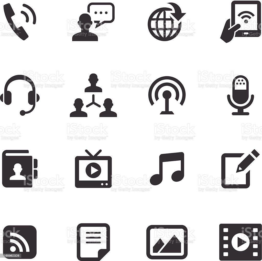 Mono Icons Set   Social Media vector art illustration