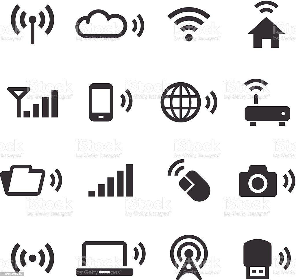 Mono Icons Set | Wireless Technology vector art illustration