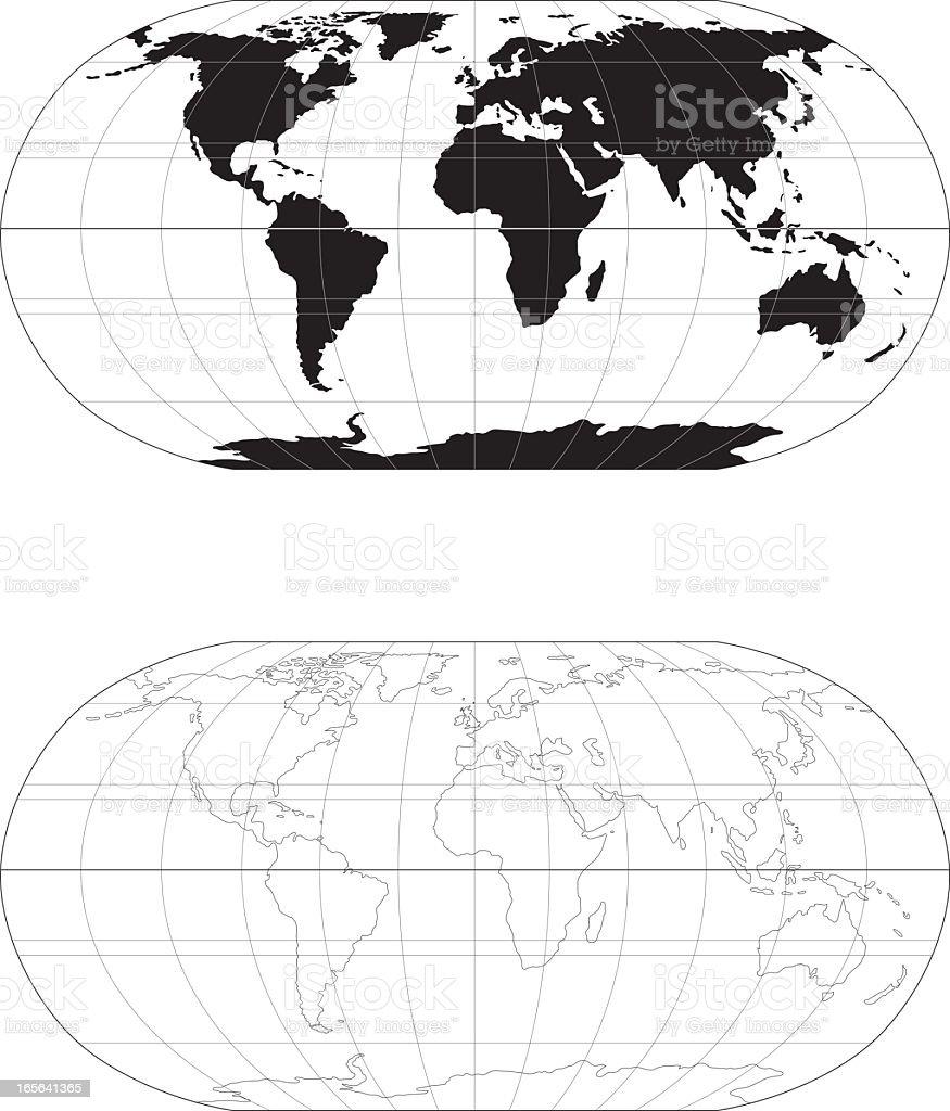 Mono world map vector art illustration