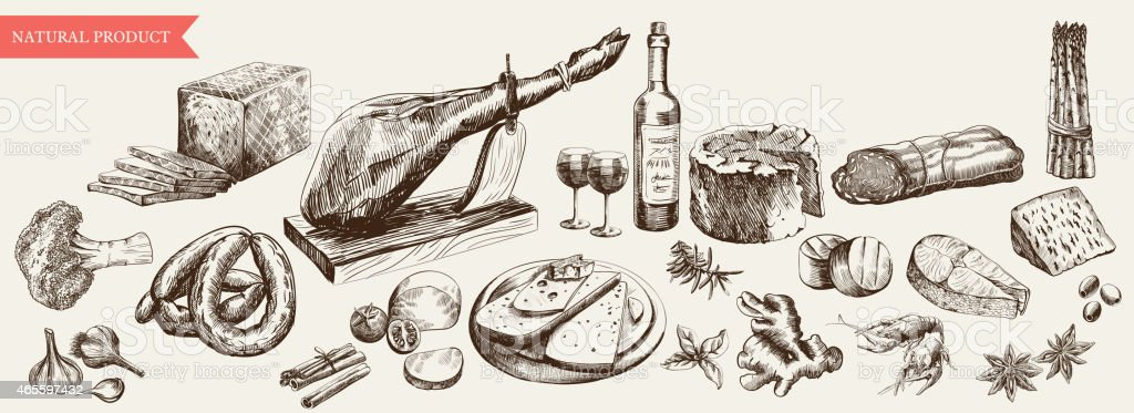 Monochromatic drawing of a variety of foods and wine vector art illustration
