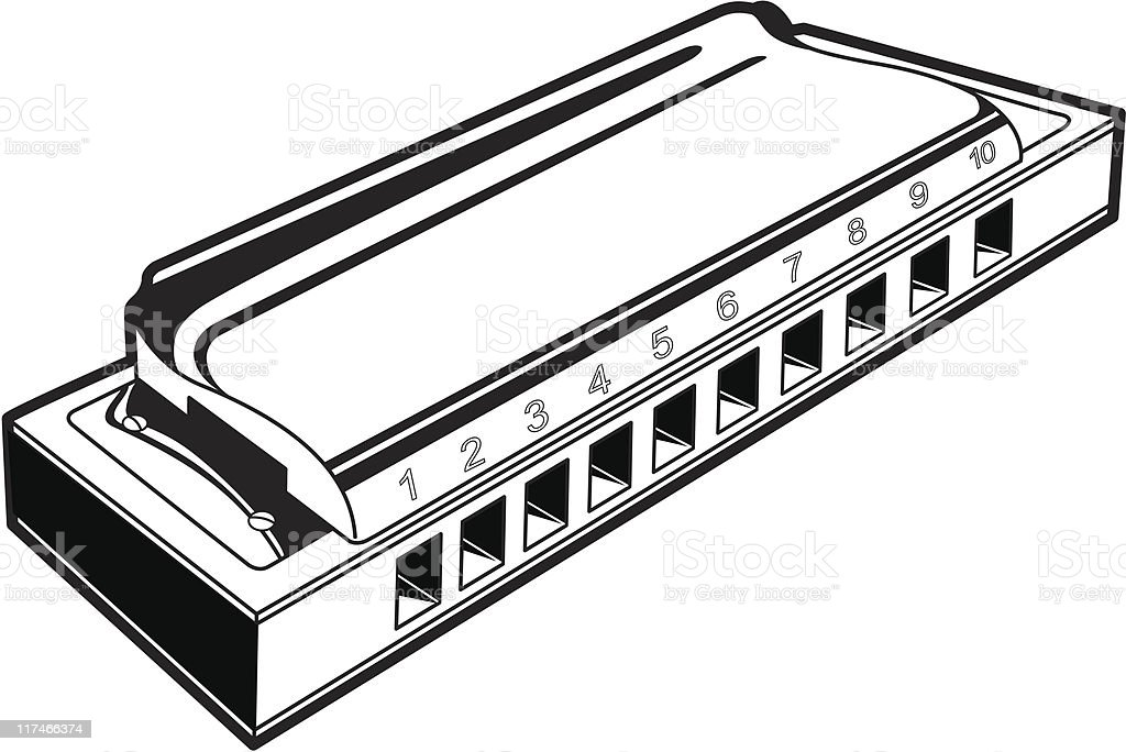 Monochromatic harmonica picture in perspective view vector art illustration
