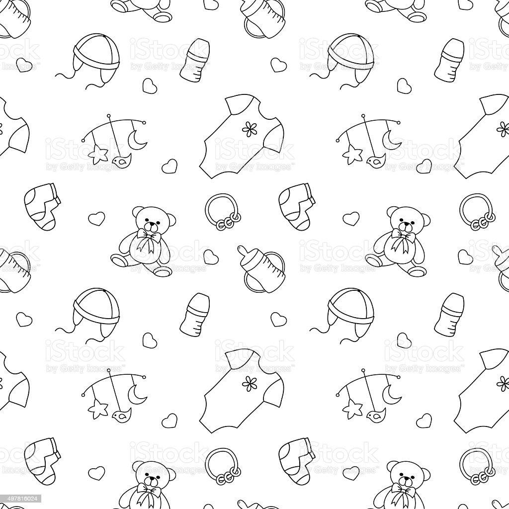 Monochrome baby seamless pattern vector art illustration