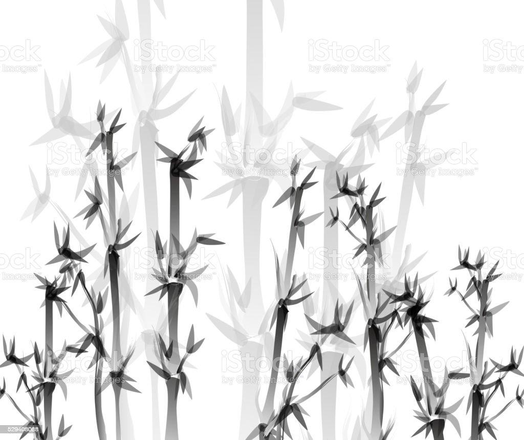 Monochrome bamboo pattern background vector art illustration