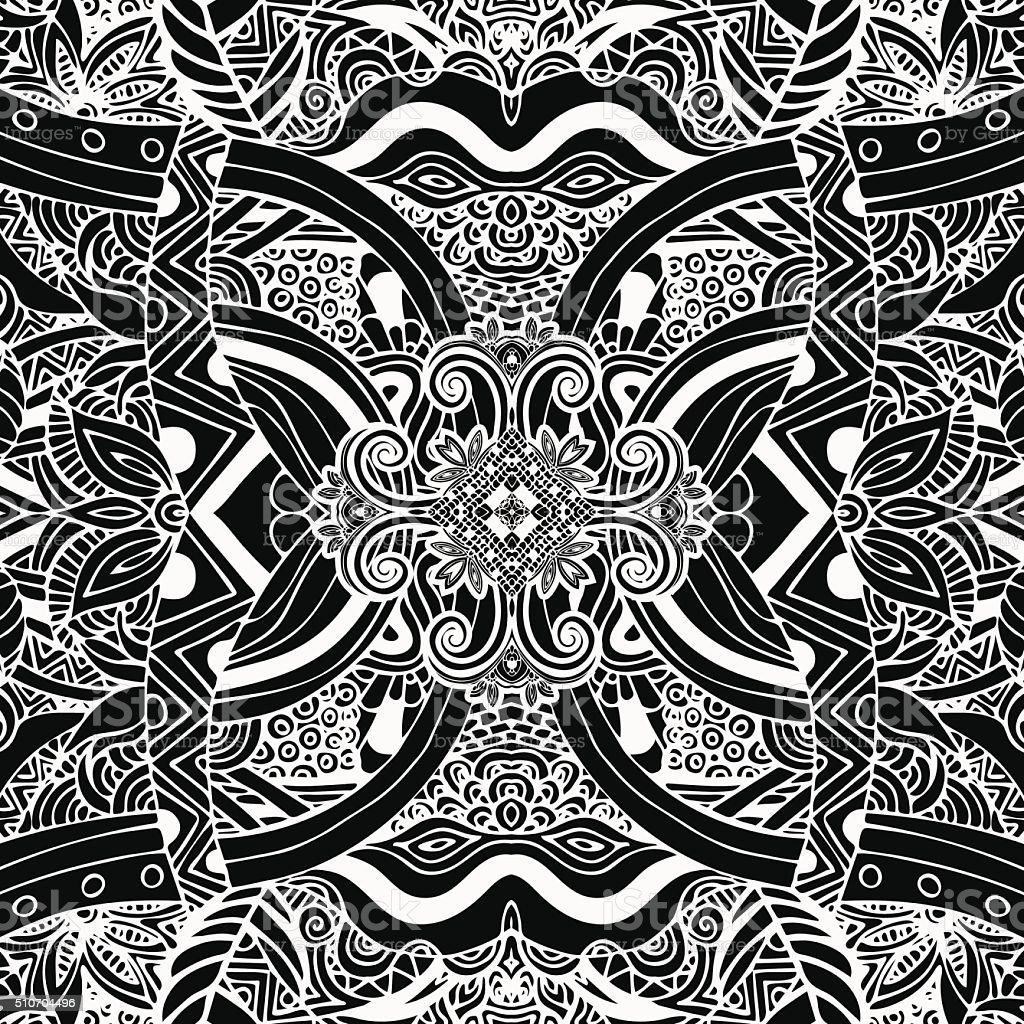 Monochrome, black and white pattern. Boho style, ethnic ornament. Vintage royalty-free stock vector art