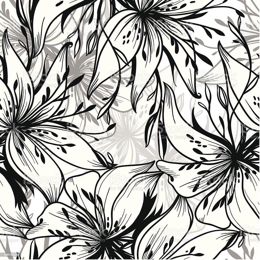 monochrome black white seamless vector pattern of abstract lilies royalty-free stock vector art