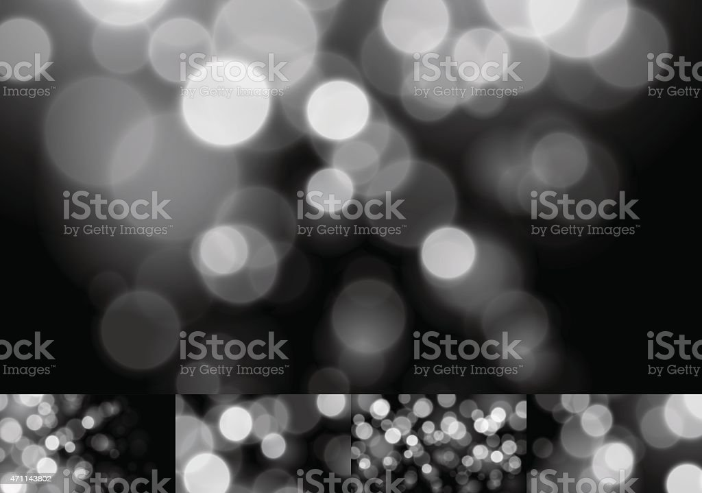 Monochrome Bokeh Stock Vector Backgrounds Blurry Defocus Lights Collection vector art illustration