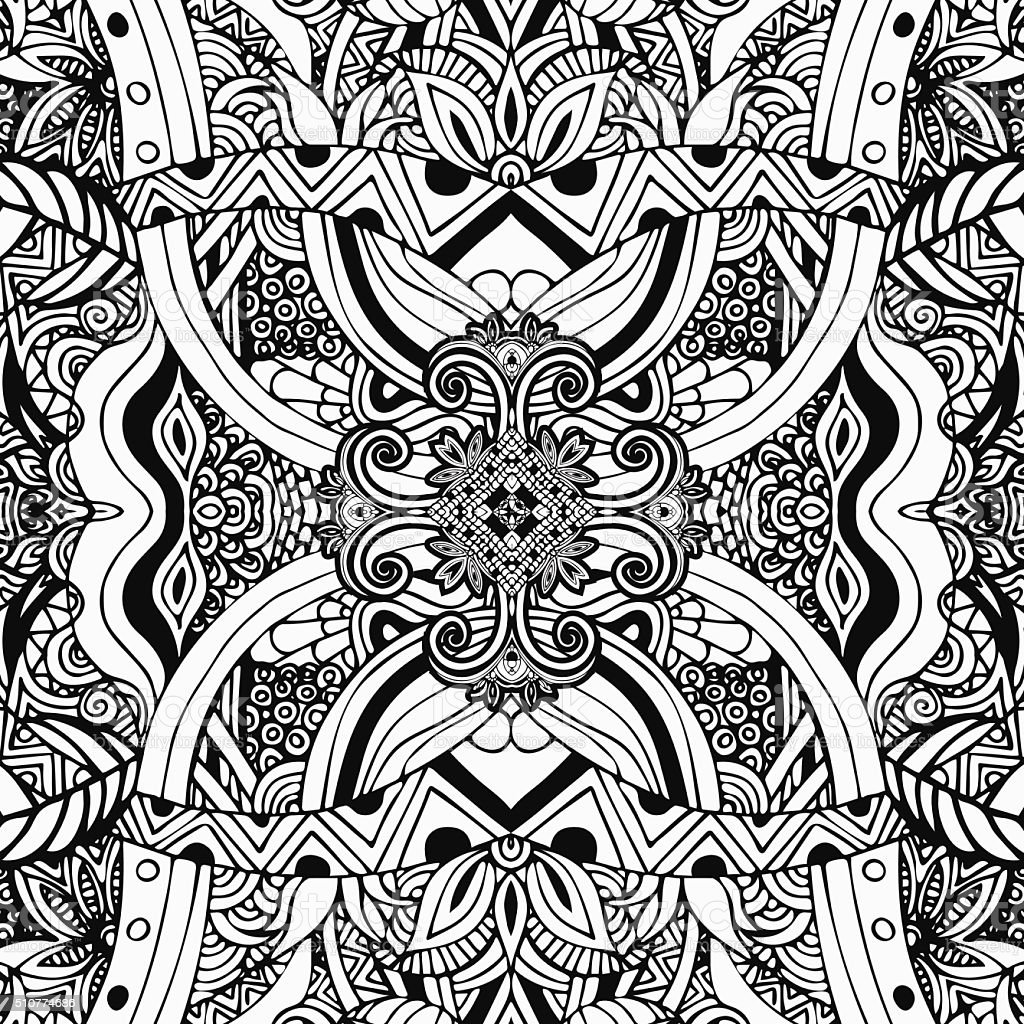 Monochrome, coloring, black and white pattern. Boho style, ethnic ornament royalty-free stock vector art