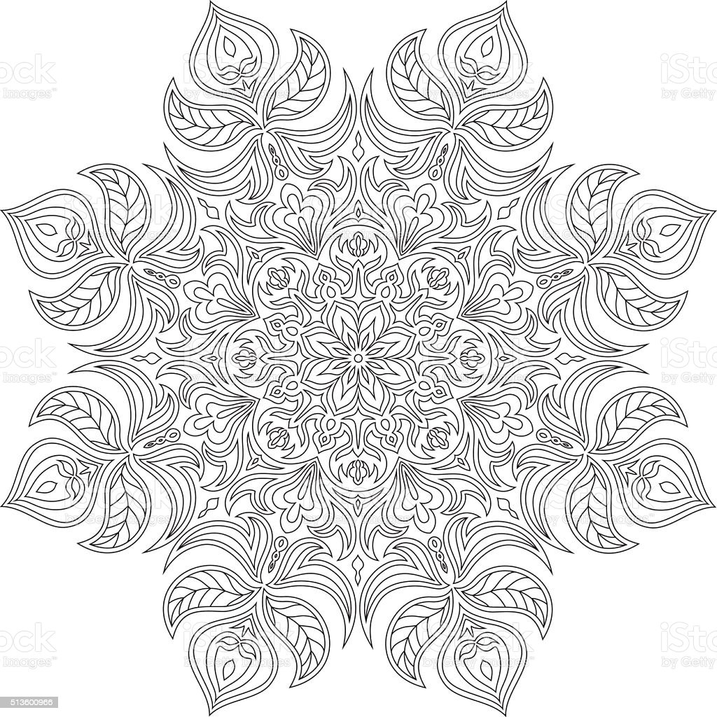 Monochrome contour mandala for coloring. vector art illustration