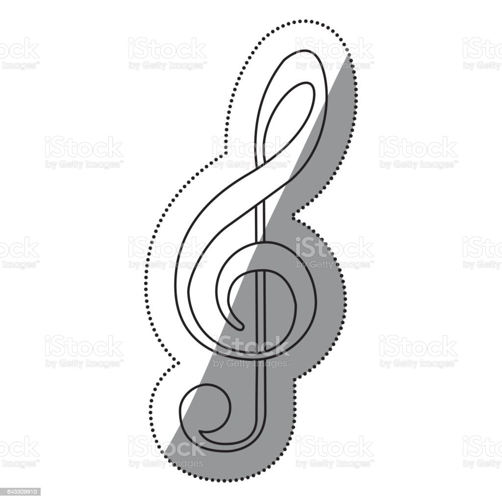 monochrome contour silhouette with sign music treble clef vector art illustration