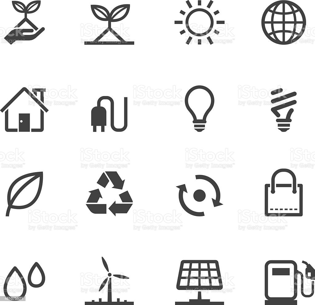 A monochrome ecology icons item vector art illustration