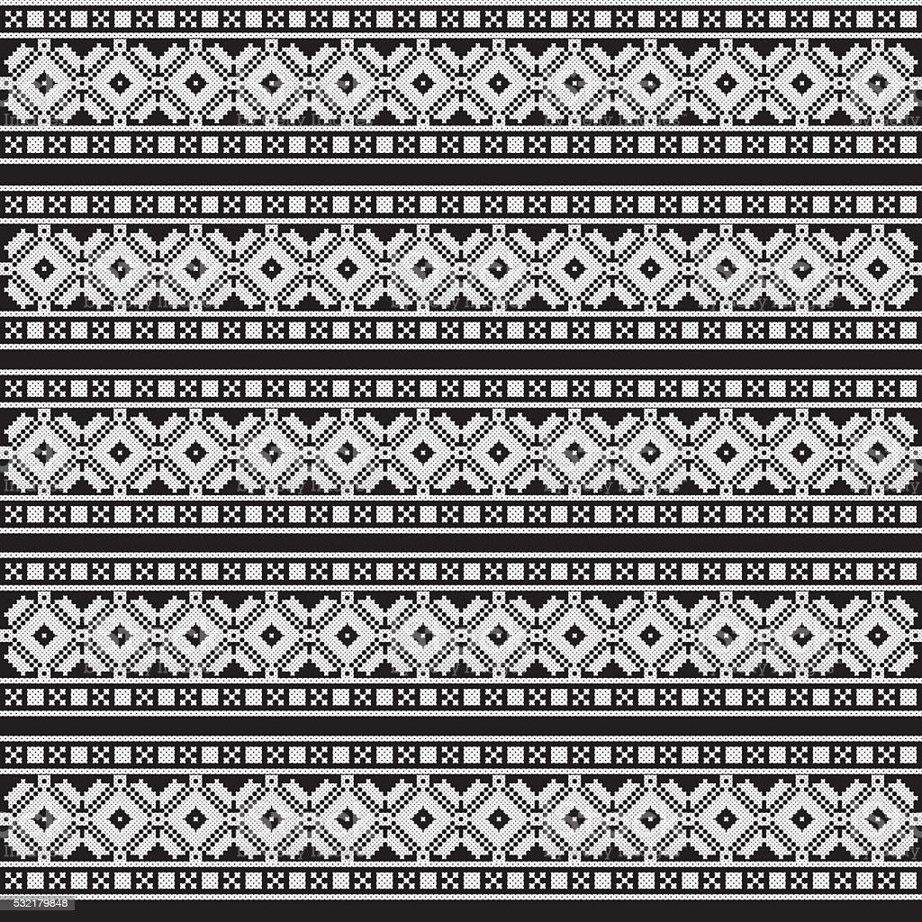 Monochrome ethnic pattern. Slav, scandinavian, ukrainian, style vector art illustration