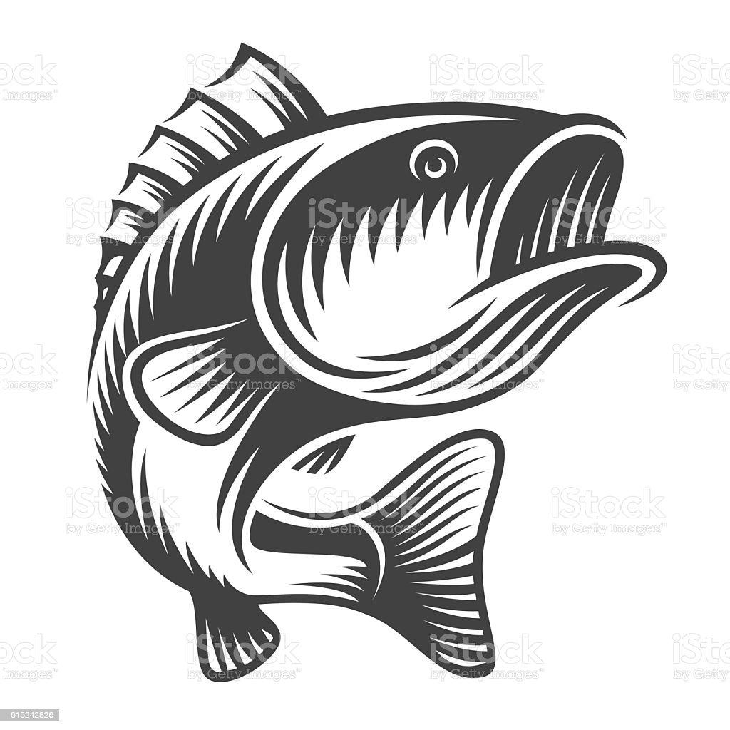 Monochrome fish bass logo vector art illustration