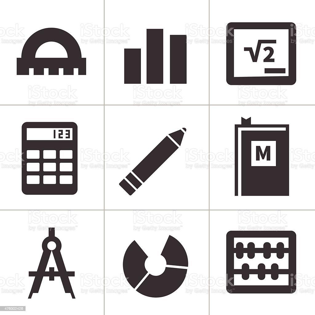 Monochrome flat maths icons vector art illustration