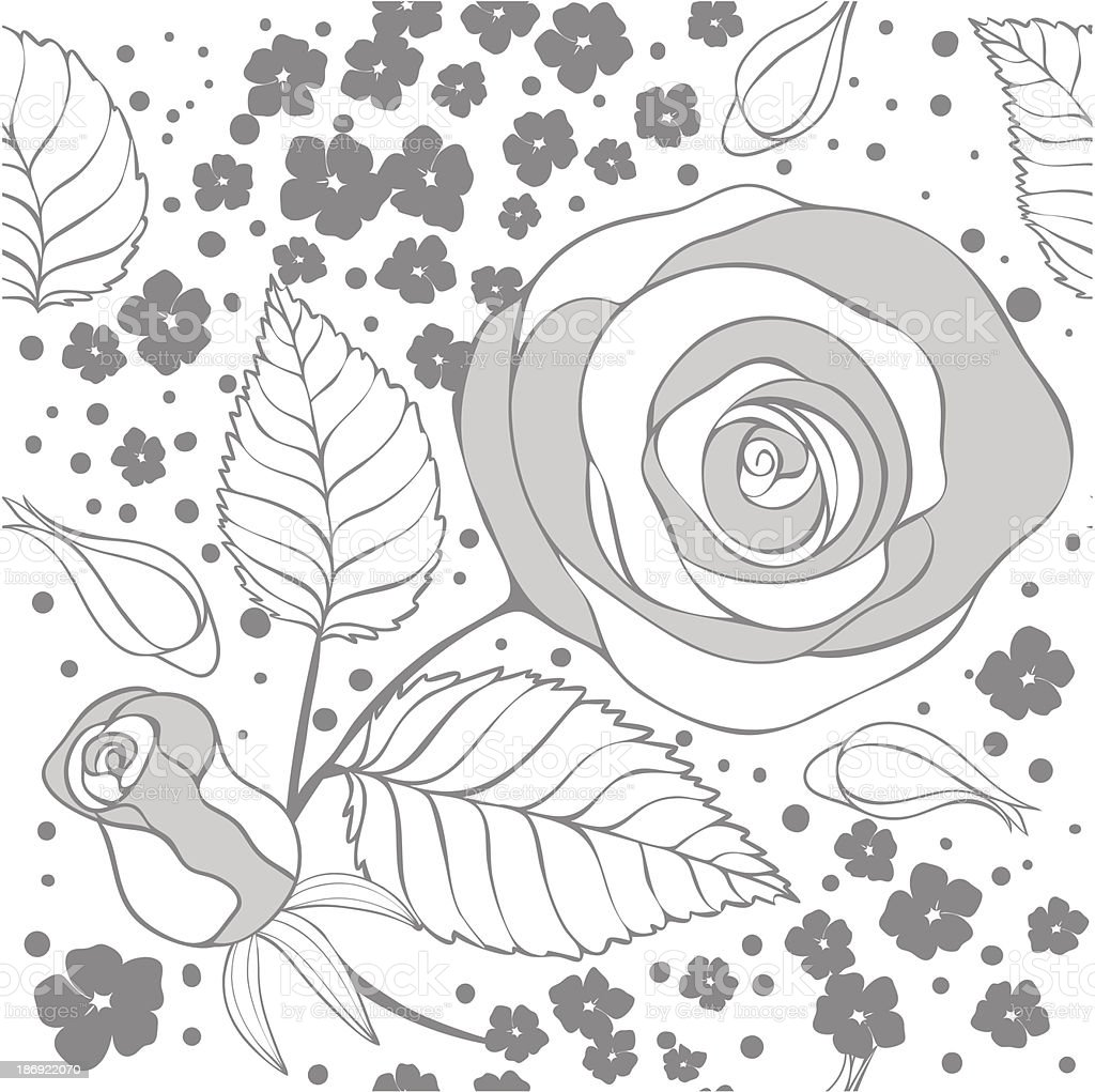 monochrome floral pattern royalty-free stock vector art