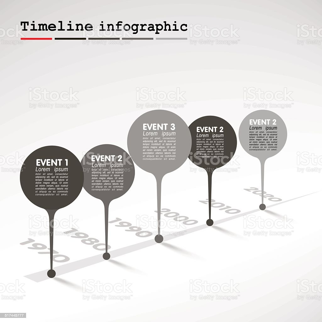 Monochrome Infographic timeline report template with  bubbles - events vector art illustration