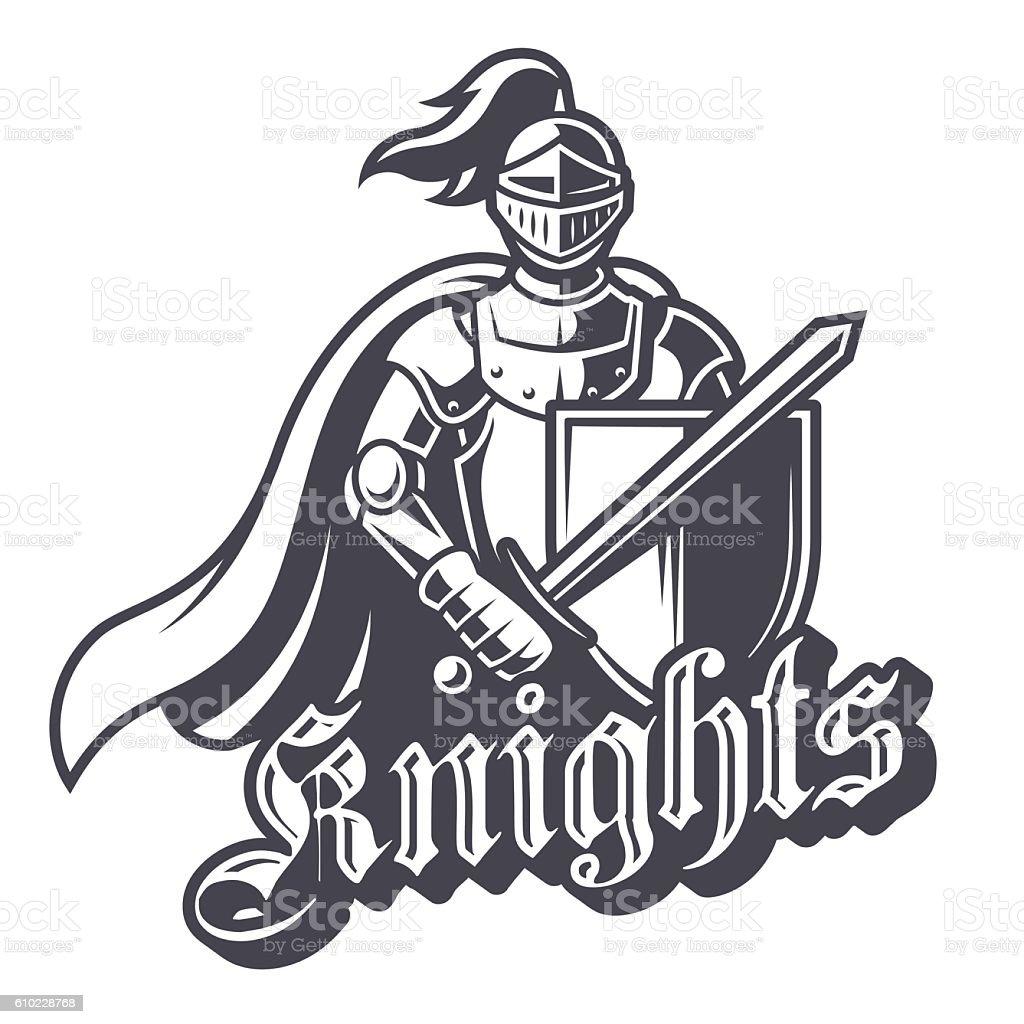 Monochrome knight sport logo vector art illustration